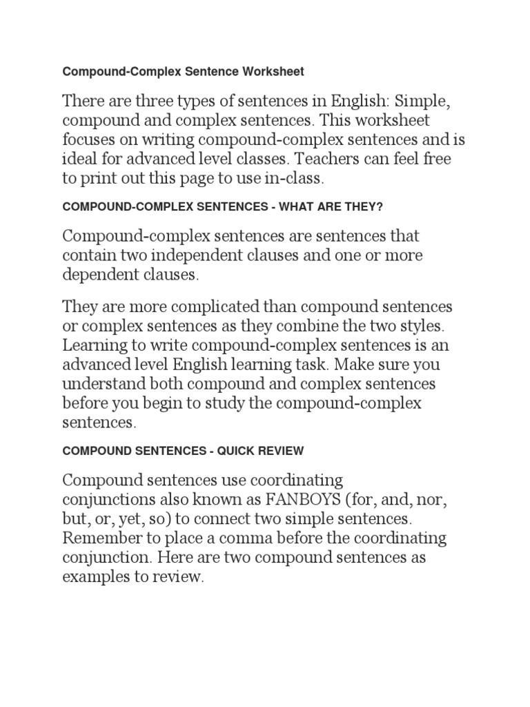 Compound and Complex Sentences Worksheet Poundcx Sentence Linguistics