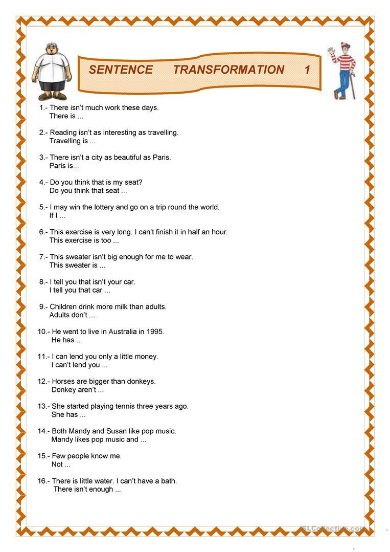 Compound and Complex Sentences Worksheet Sentence Transformation