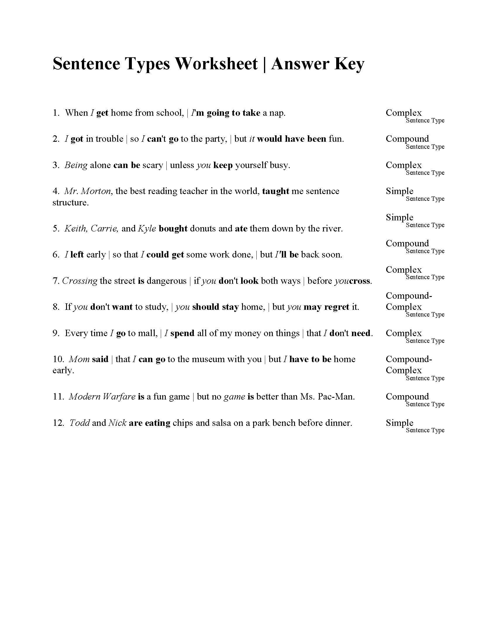 Compound and Complex Sentences Worksheet Sentences Types Worksheet