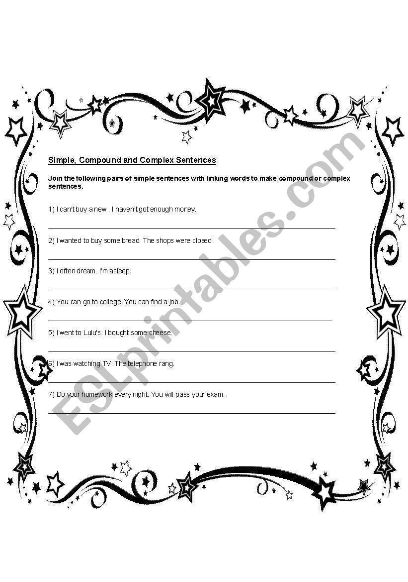 Compound and Complex Sentences Worksheet Simple Pound Plex Sentences Esl Worksheet by New This