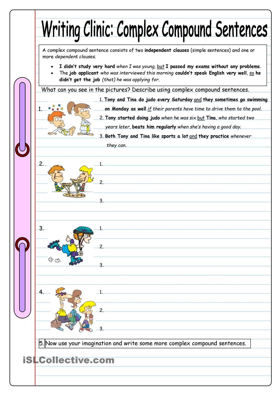 Compound and Complex Sentences Worksheet Writing Clinic Plex Pound Sentences