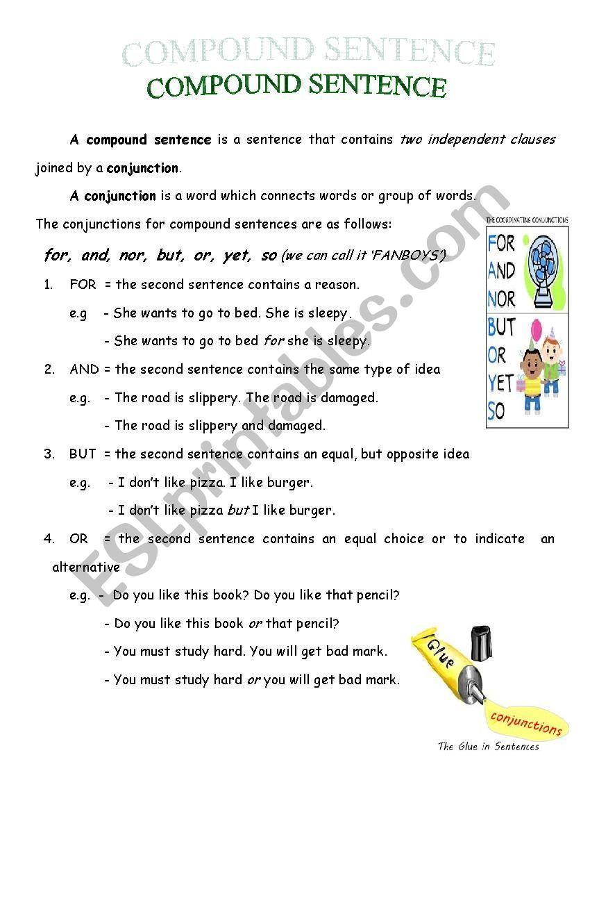Compound Sentences Worksheet Pdf Pound Sentence Esl Worksheet by Riverz