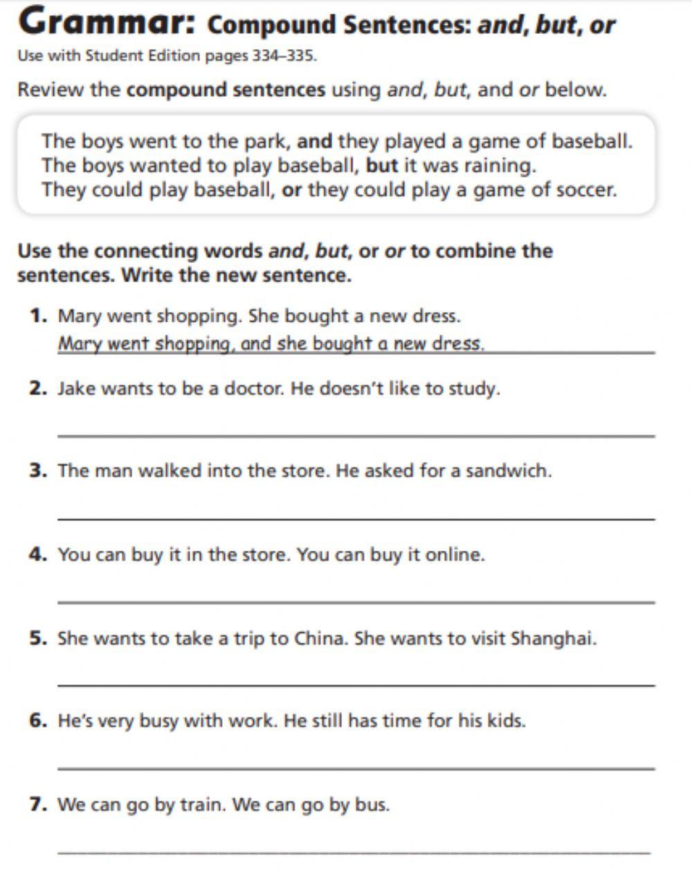 Compound Sentences Worksheet Pdf Pound Sentences Interactive Worksheet