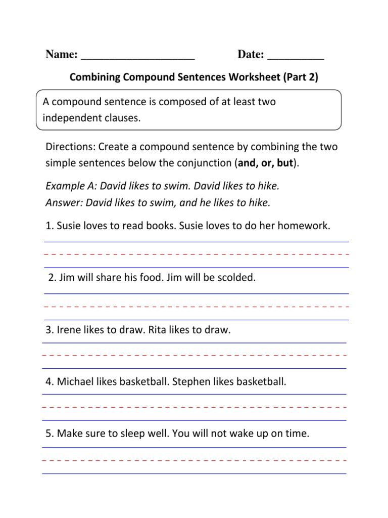 Compound Sentences Worksheet Pdf Pound Sentences Writing Worksheet