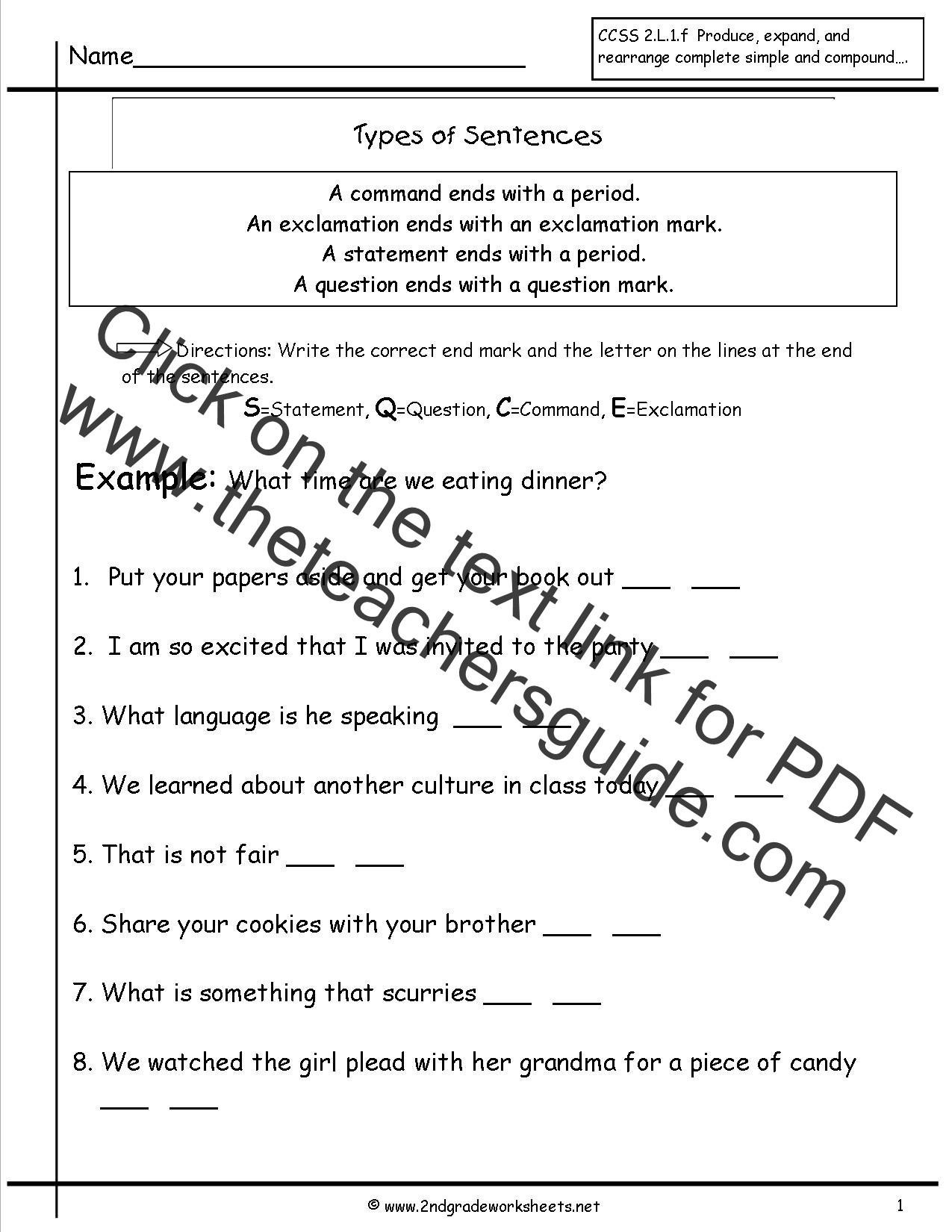 Compound Sentences Worksheet Pdf Second Grade Sentences Worksheets Ccss 2 L 1 F Worksheets