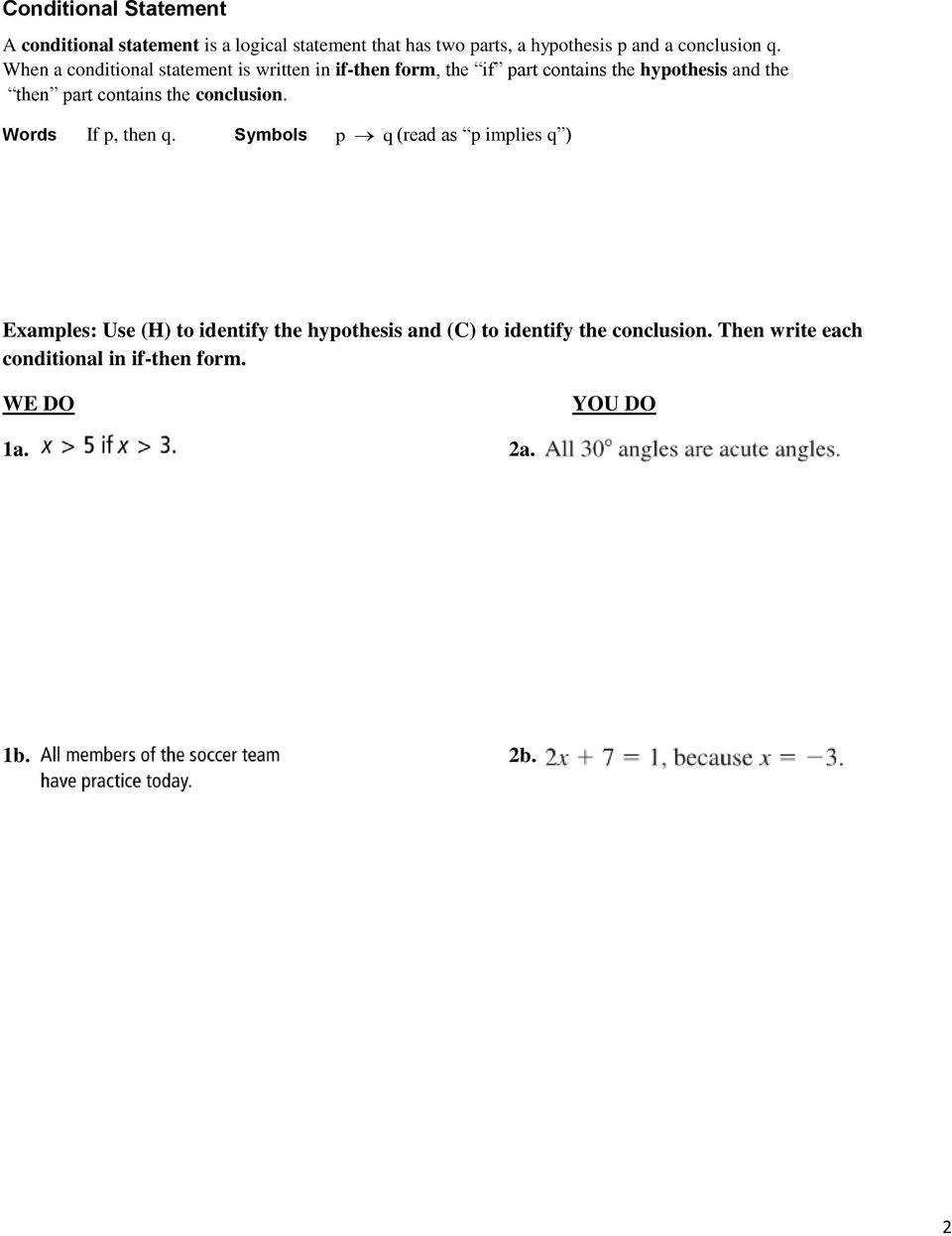 Conditional Statement Worksheet Geometry Geometry Notes Pdf Free Download