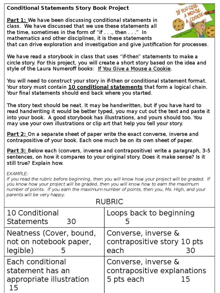 Conditional Statements Worksheet with Answers Conditional Statements Story Book Project Part 1 We Have