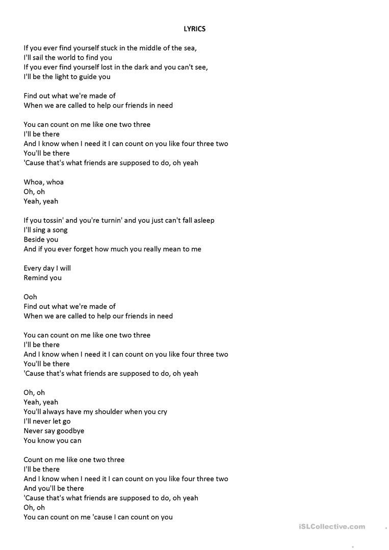 Conditional Statements Worksheet with Answers Count Me song First Conditional English Esl