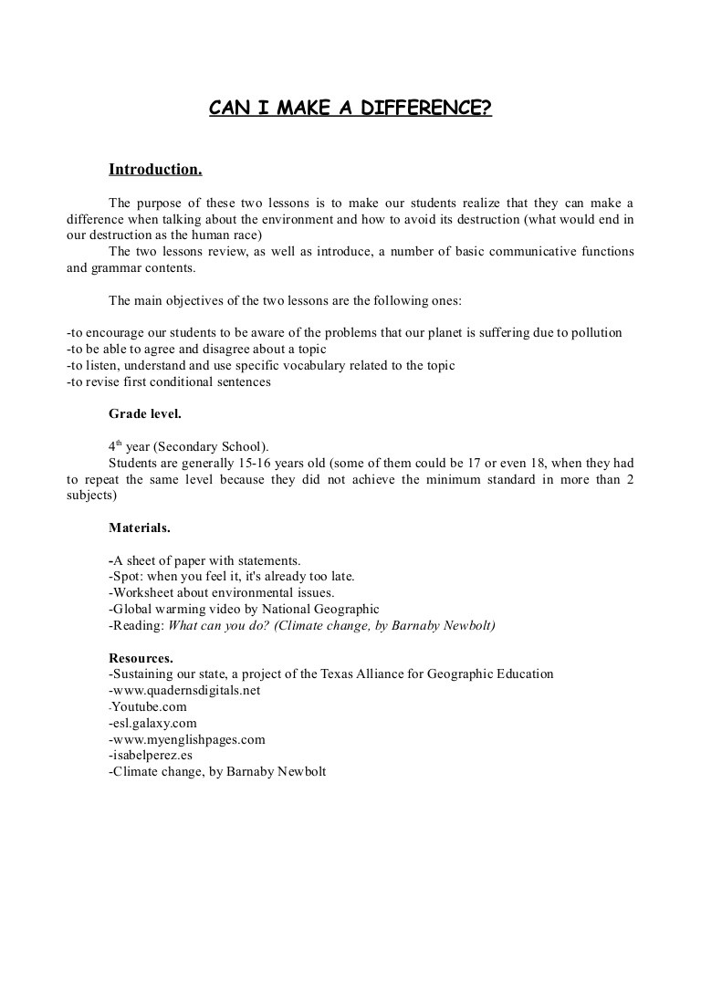 Conditional Statements Worksheet with Answers Lesson Plan About Global Warming Subject English Spanish Team