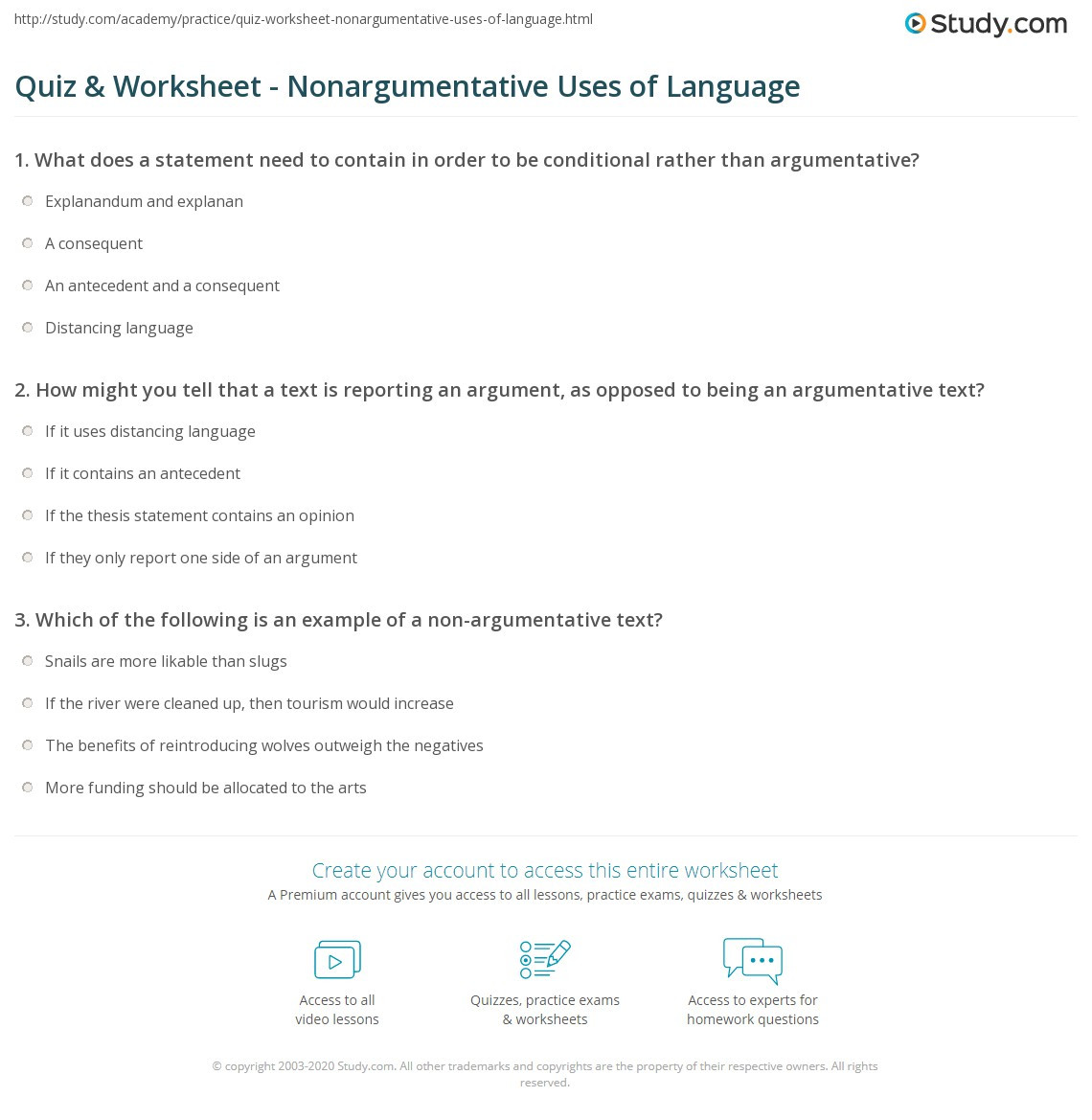 Conditional Statements Worksheet with Answers Quiz & Worksheet Nonargumentative Uses Of Language