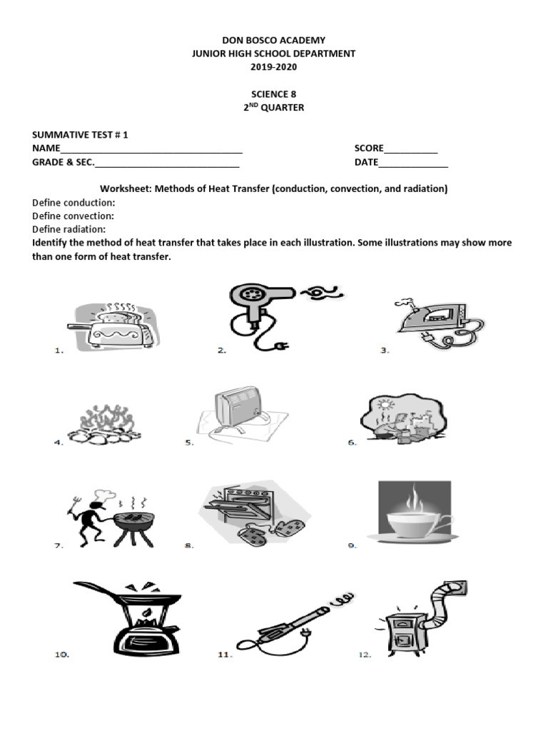 Conduction Convection Radiation Worksheet Define Conduction Define Convection Define Radiation