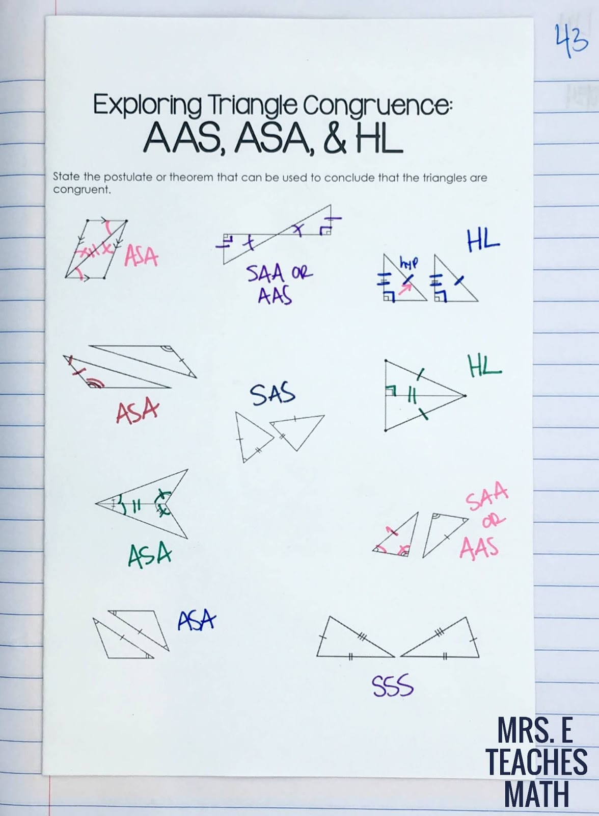 Congruent Triangles Worksheet Answer Key Congruent Triangles Inb Pages