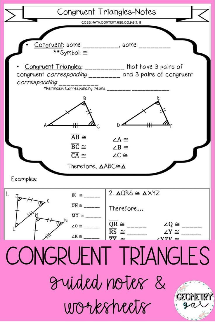 Congruent Triangles Worksheet Answer Key Congruent Triangles Notes and Worksheets