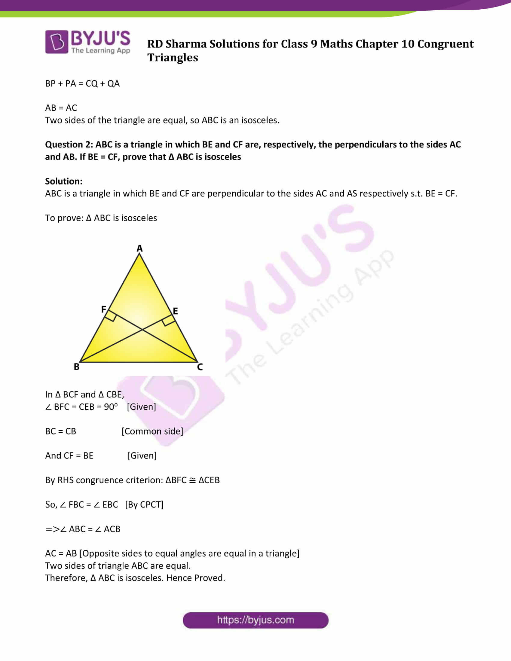 Congruent Triangles Worksheet Answer Key Rd Sharma solutions Class 9 Chapter 10 Congruent Triangles