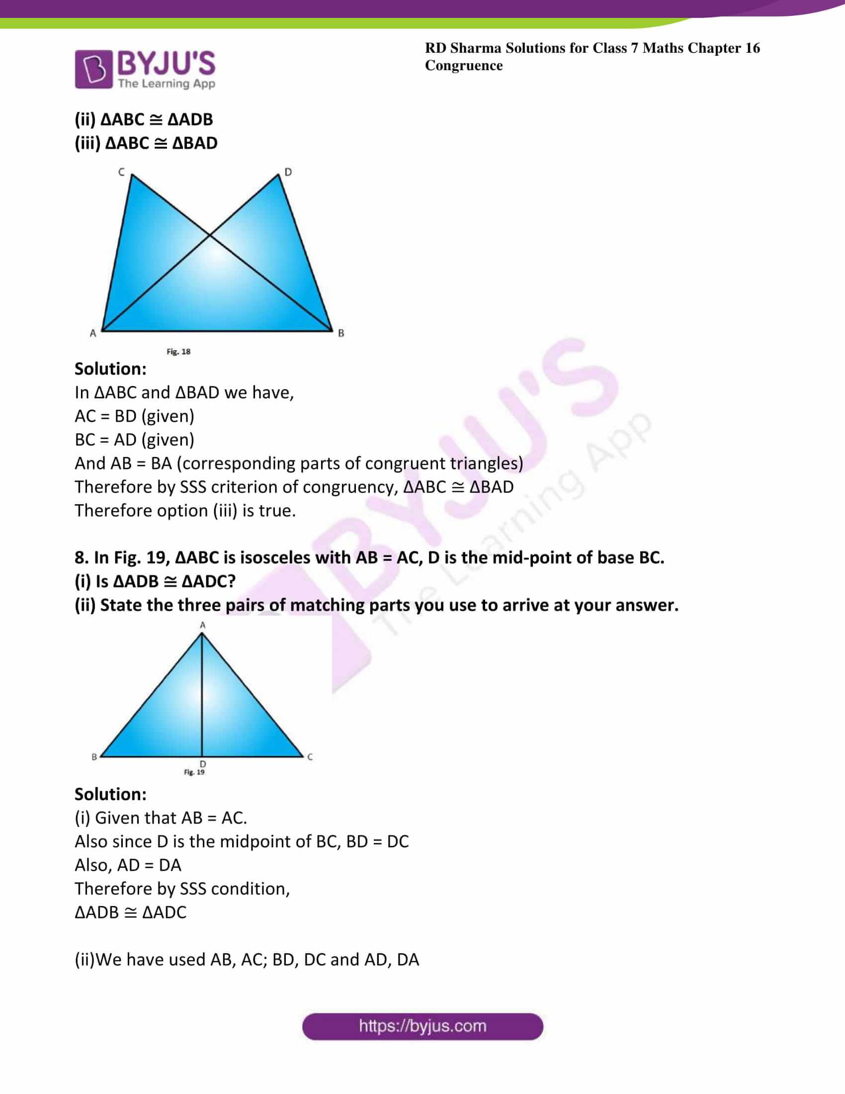 Congruent Triangles Worksheet Answer Key Rd Sharma solutions for Class 7 Maths Chapter 16