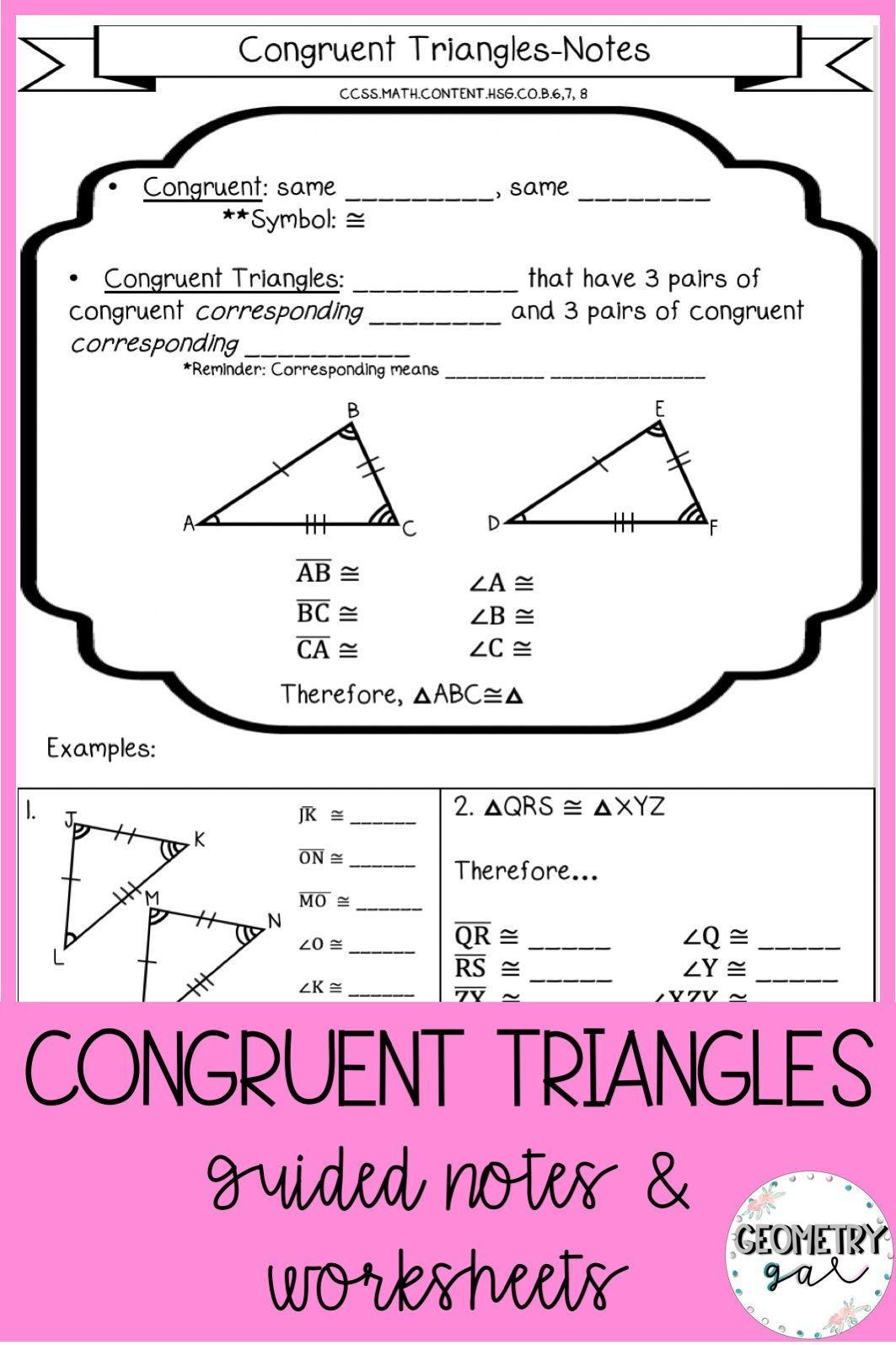 Congruent Triangles Worksheet with Answers Congruent Triangles Notes and Worksheets