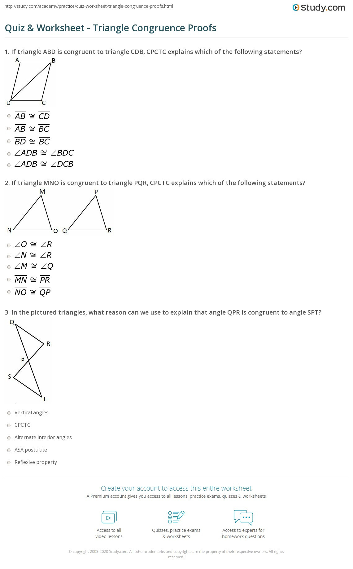 Congruent Triangles Worksheet with Answers Quiz & Worksheet Triangle Congruence Proofs
