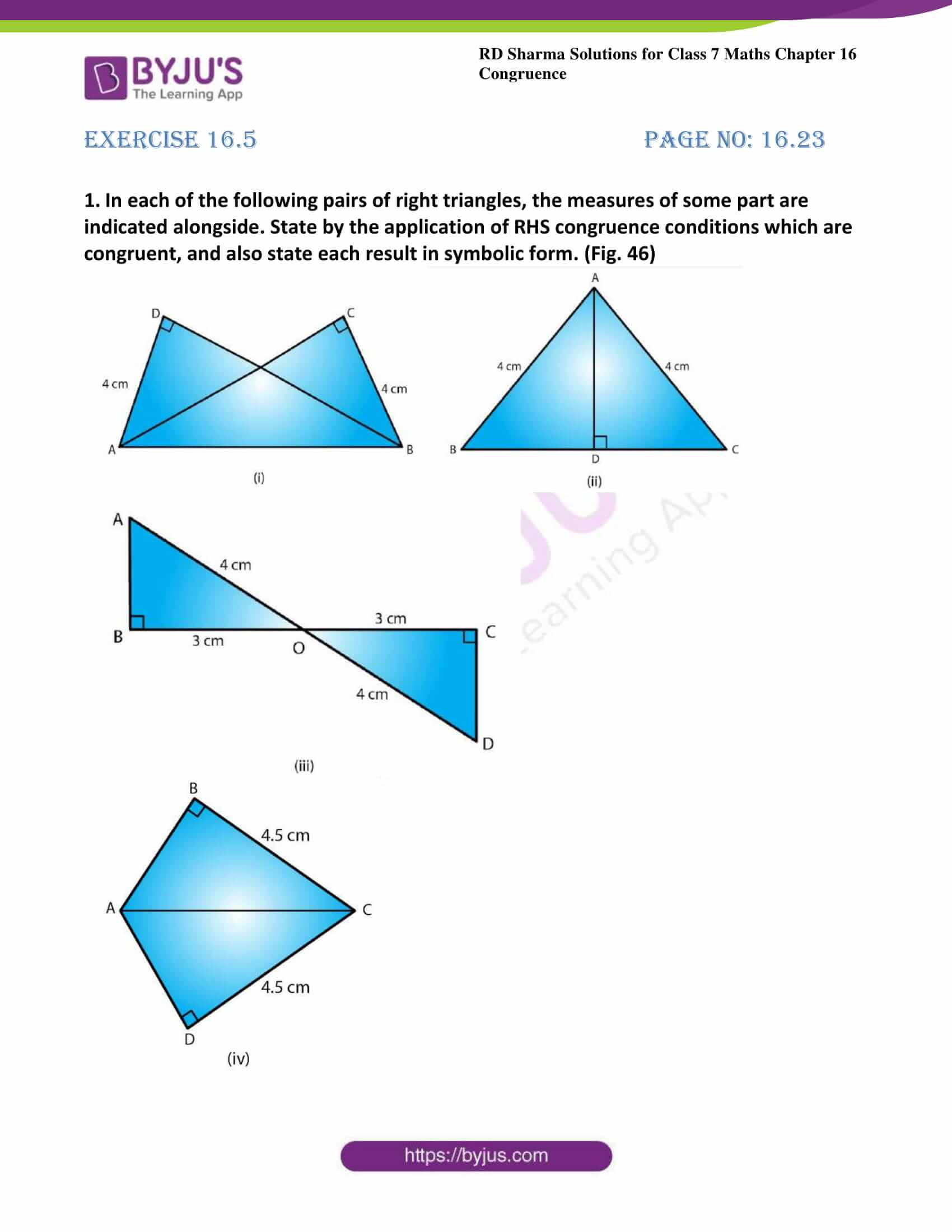 Congruent Triangles Worksheet with Answers Rd Sharma solutions for Class 7 Maths Chapter 16
