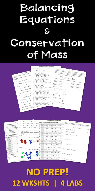 Conservation Of Mass Worksheet Balancing Chemical Equations Conservation Of Mass