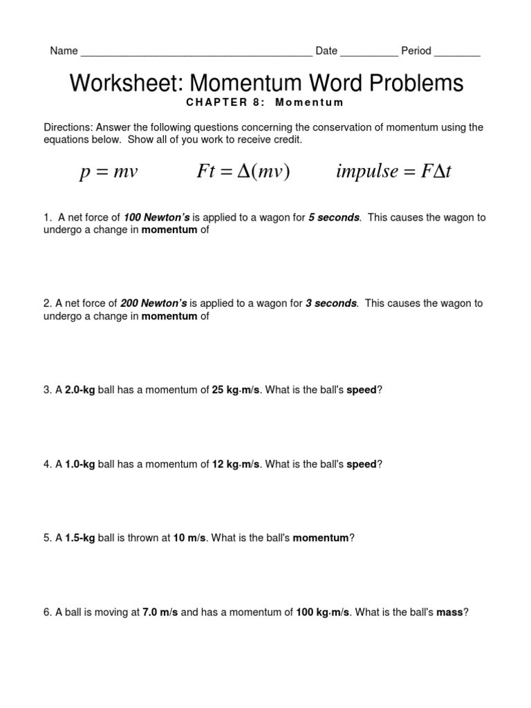 Conservation Of Mass Worksheet Conservation Momentum Worksheet 73 Answers