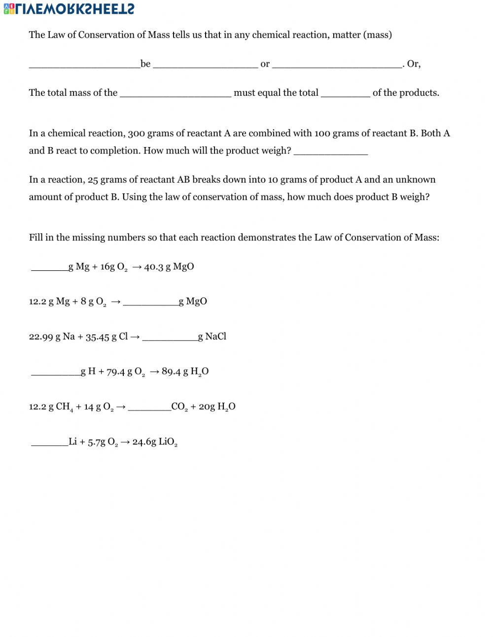Conservation Of Mass Worksheet Intro to Chemical Equations Interactive Worksheet