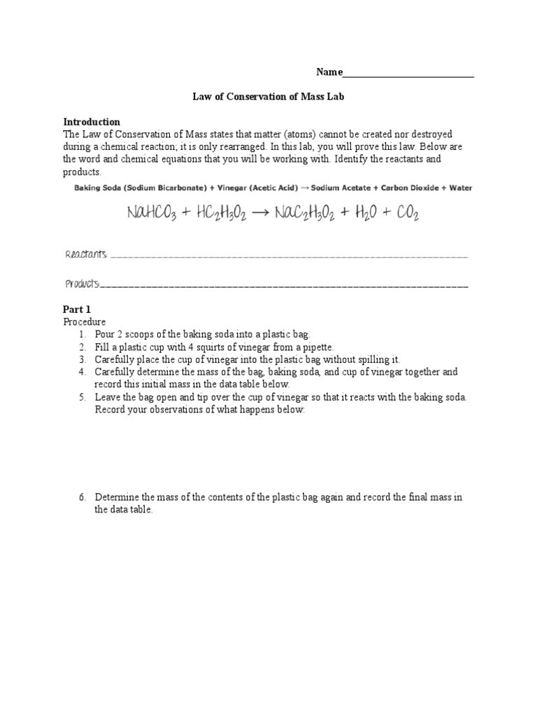 Conservation Of Mass Worksheet Law Of Conservation Of Mass Lab