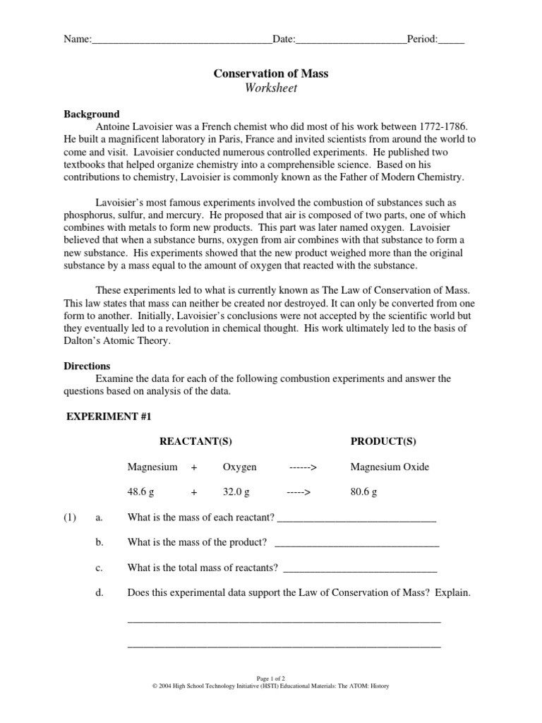Conservation Of Mass Worksheet Lo Ws 2 Oxygen