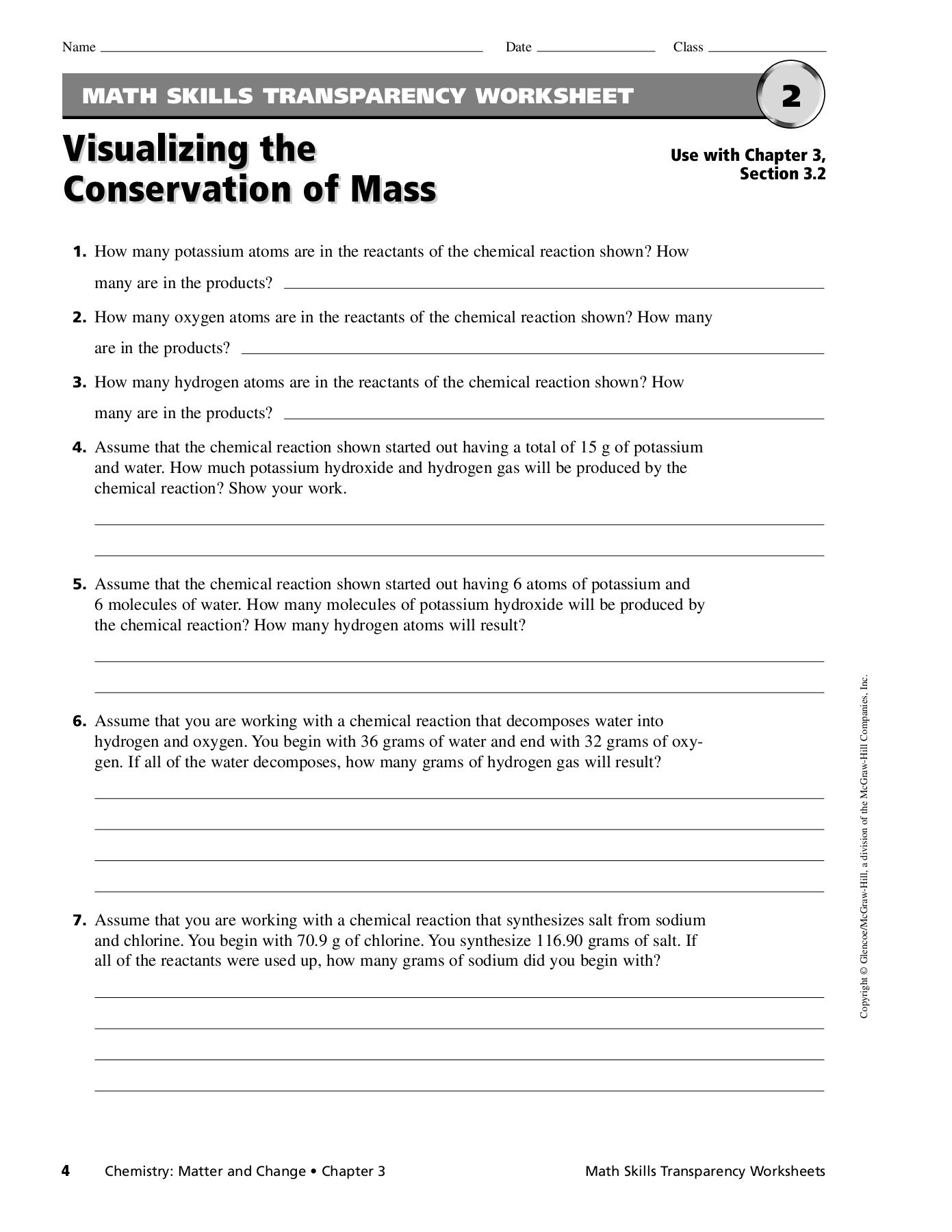 Conservation Of Mass Worksheet Math Skills Transparency Master Visualizing the Pages 1