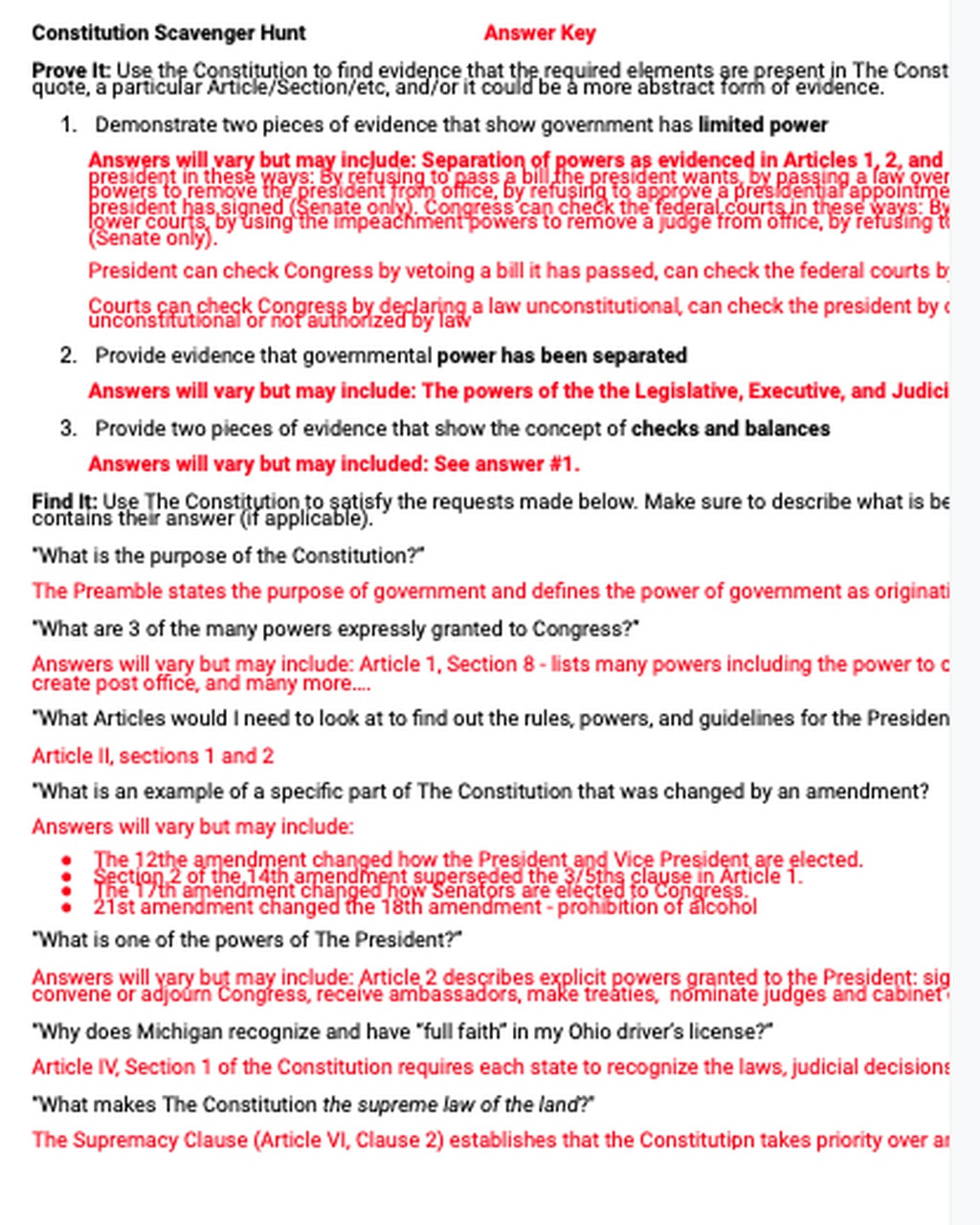 Constitution Scavenger Hunt Worksheet U S Constitution Scavenger Hunt