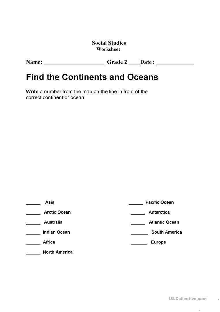 Continents and Oceans Worksheet Continents and Oceans English Esl Worksheets for Distance