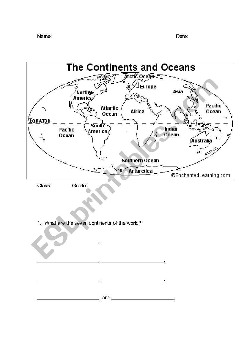 Continents and Oceans Worksheet Continents and Oceans Esl Worksheet by Bbrenton