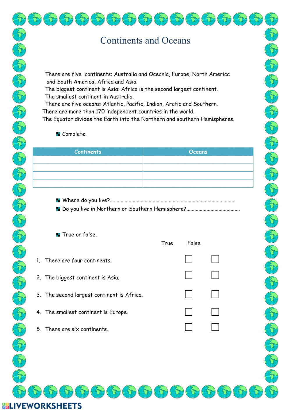 Continents and Oceans Worksheet Continents and Oceans Interactive Worksheet