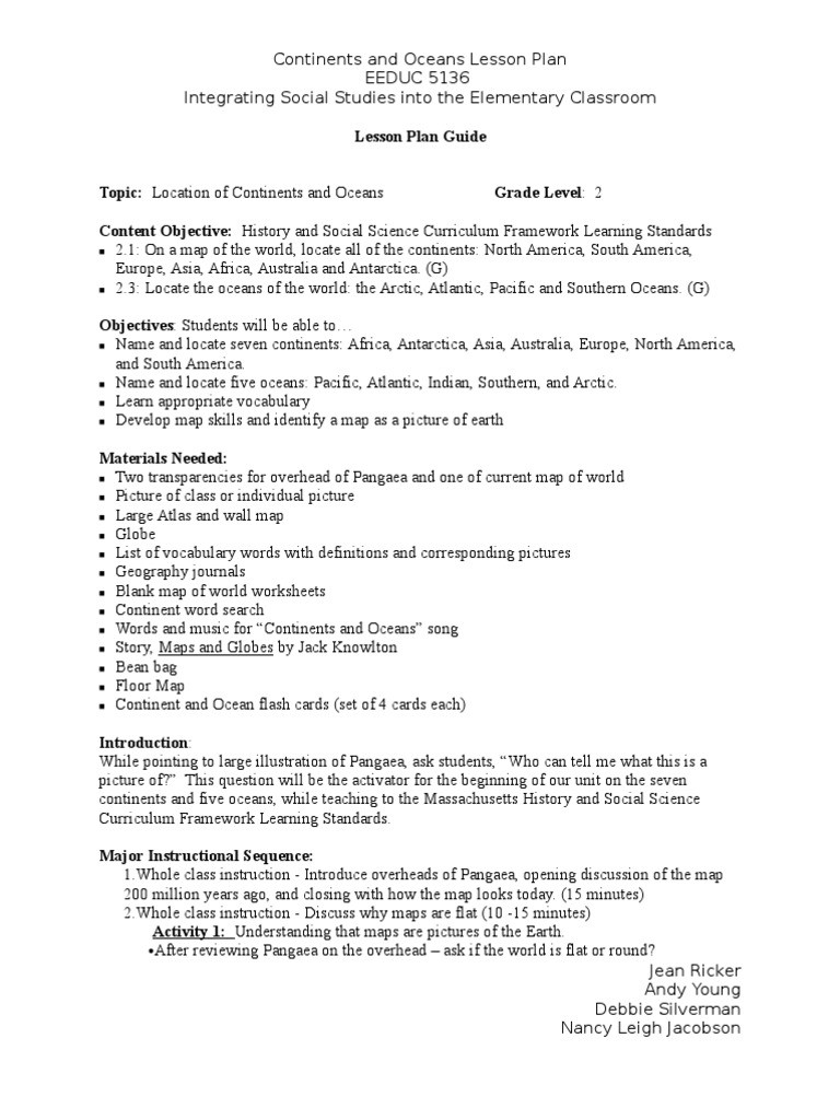 Continents and Oceans Worksheet Continents and Oceans Lesson Plan Nancy J Jean andyand