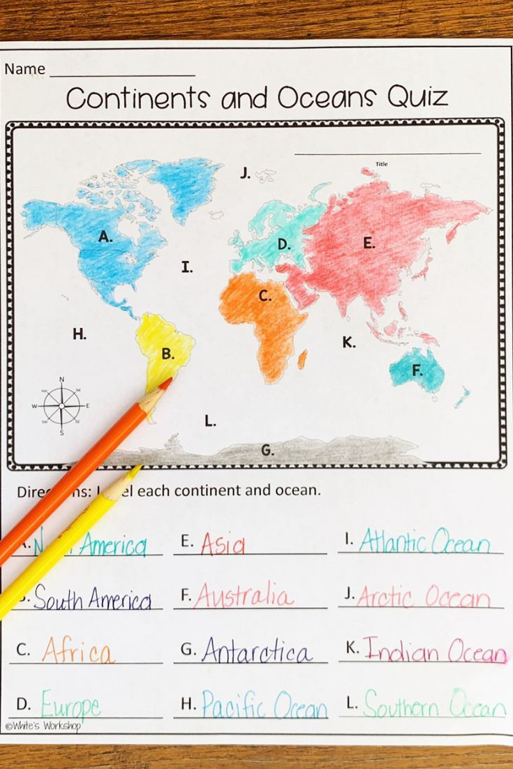 Continents and Oceans Worksheet Continents and Oceans Map Skills