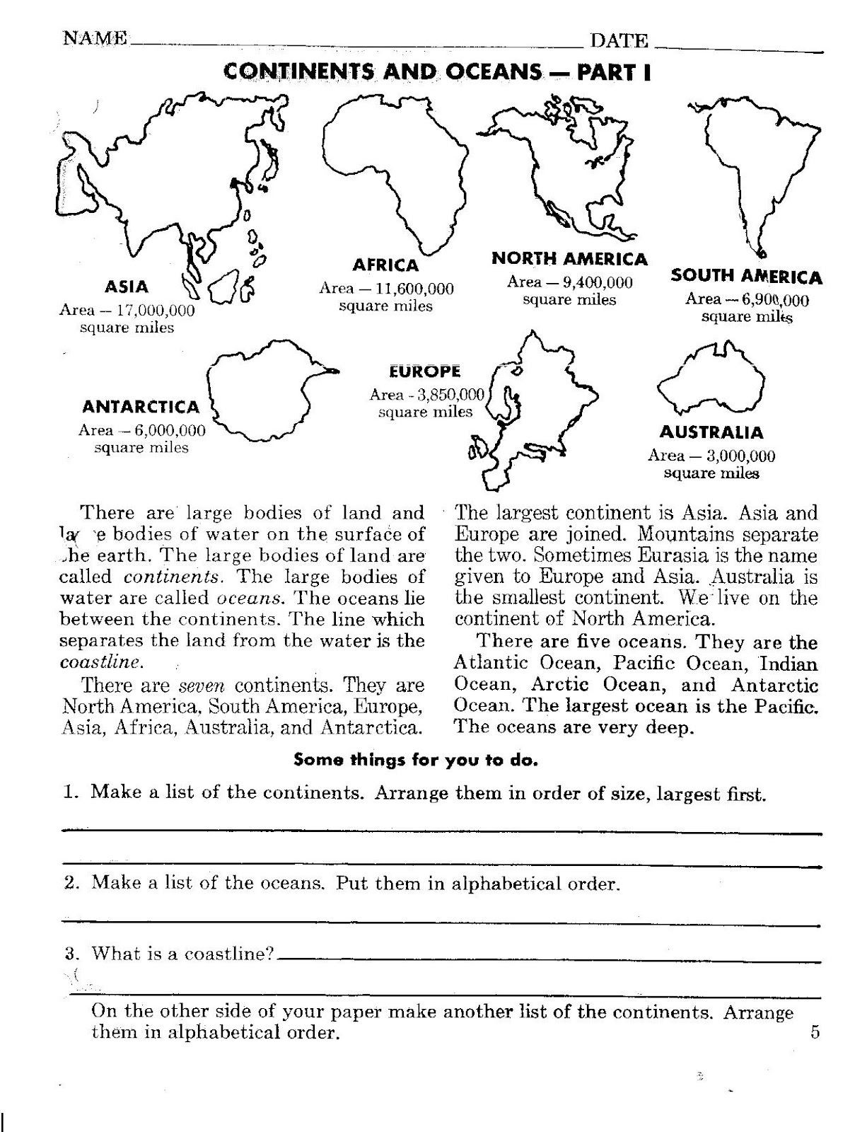 Continents and Oceans Worksheet Continents and Oceans Worksheets