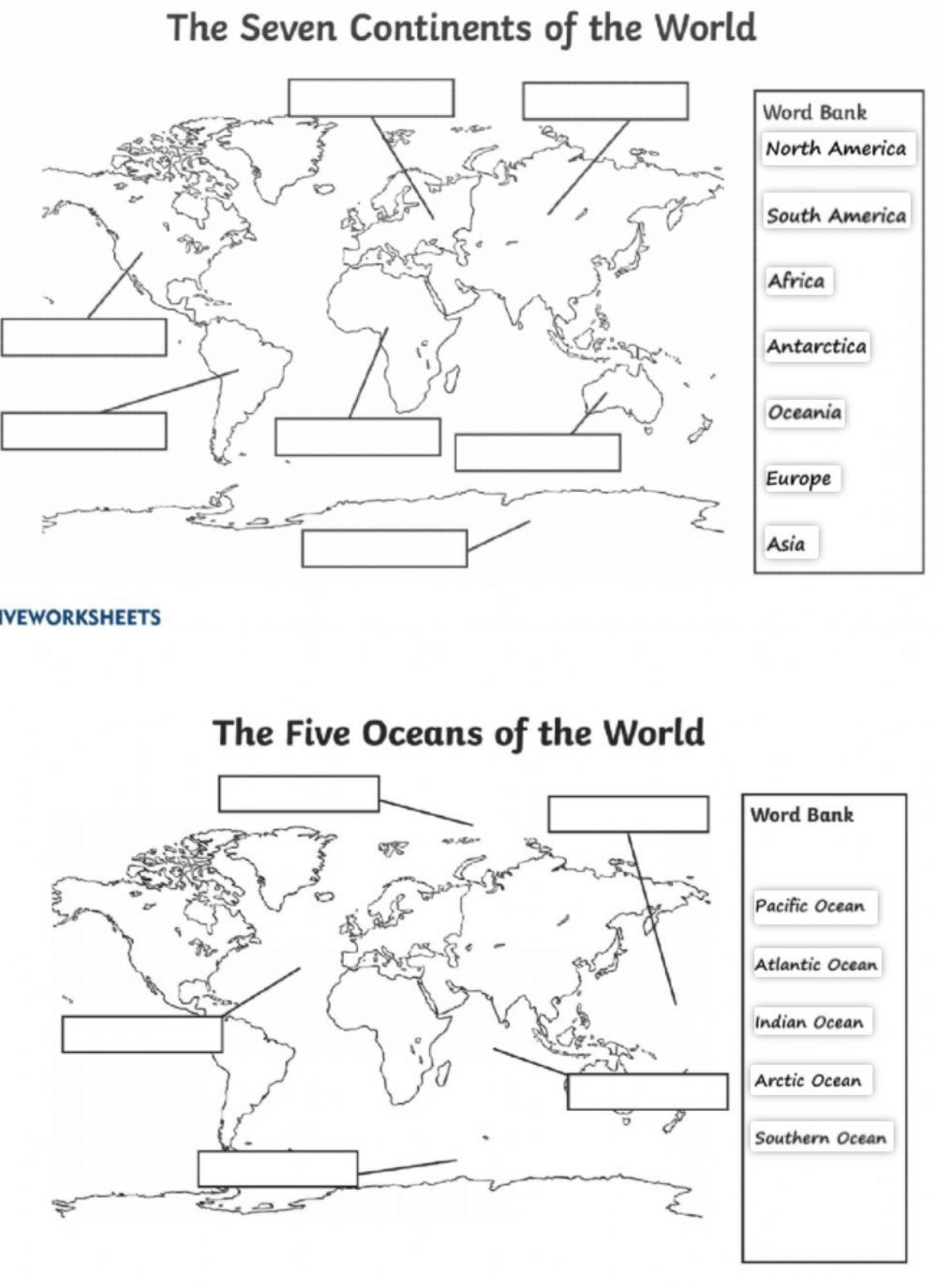 Continents and Oceans Worksheet Oceans and Continents Interactive Worksheet