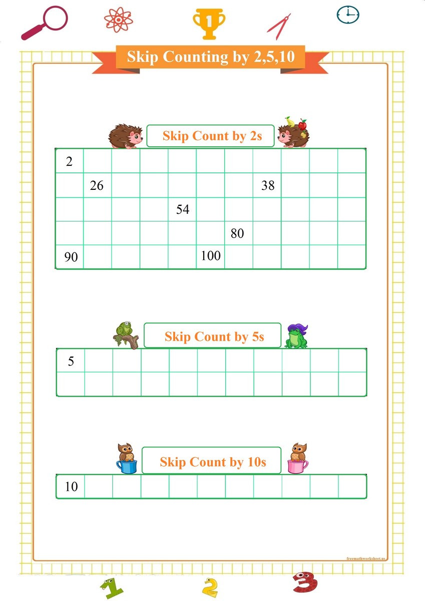 Counting by 5s Worksheet Skip Count 2 5 10