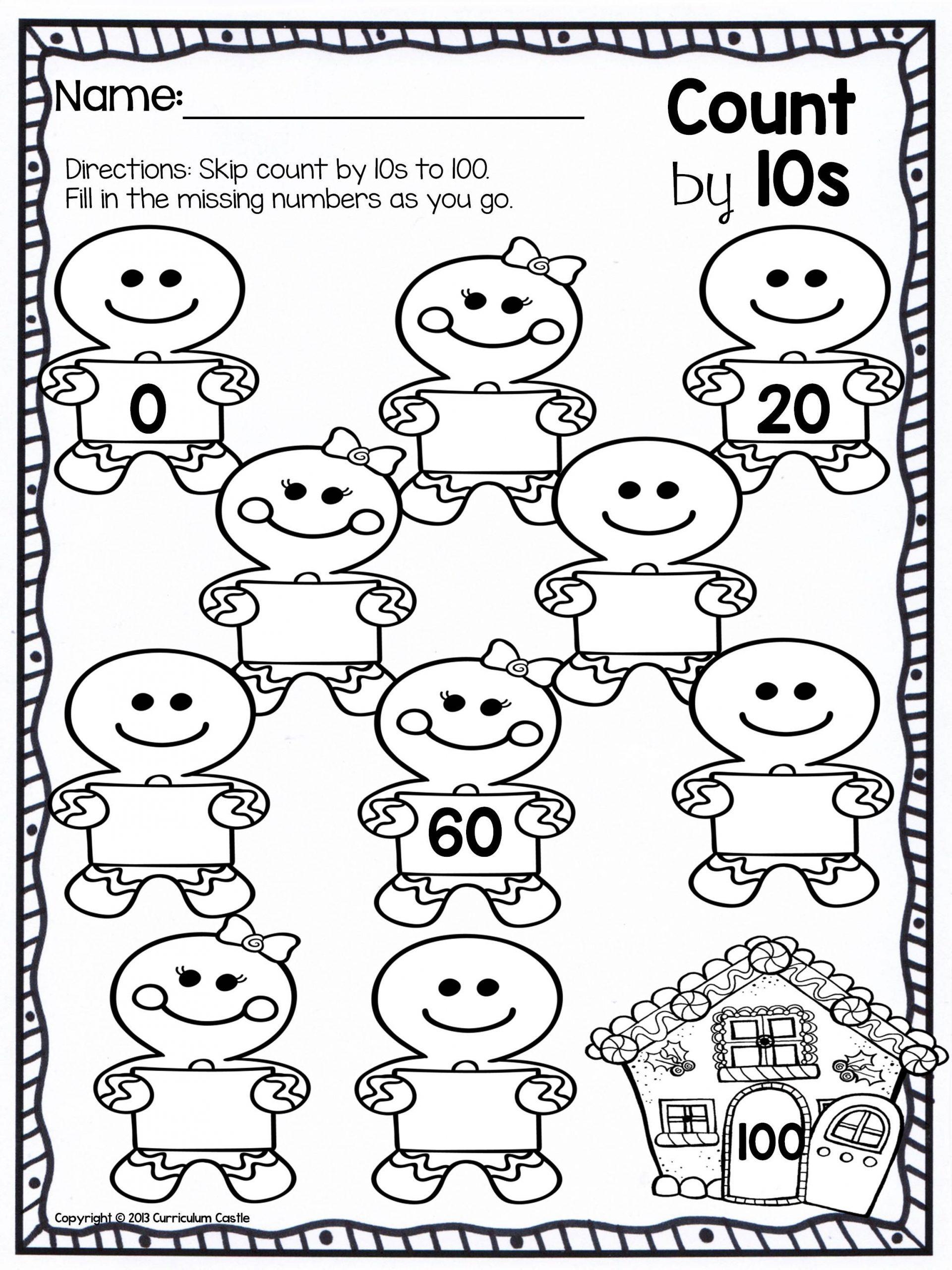 Counting In 10s Worksheet Christmas Skip Counting Freebie
