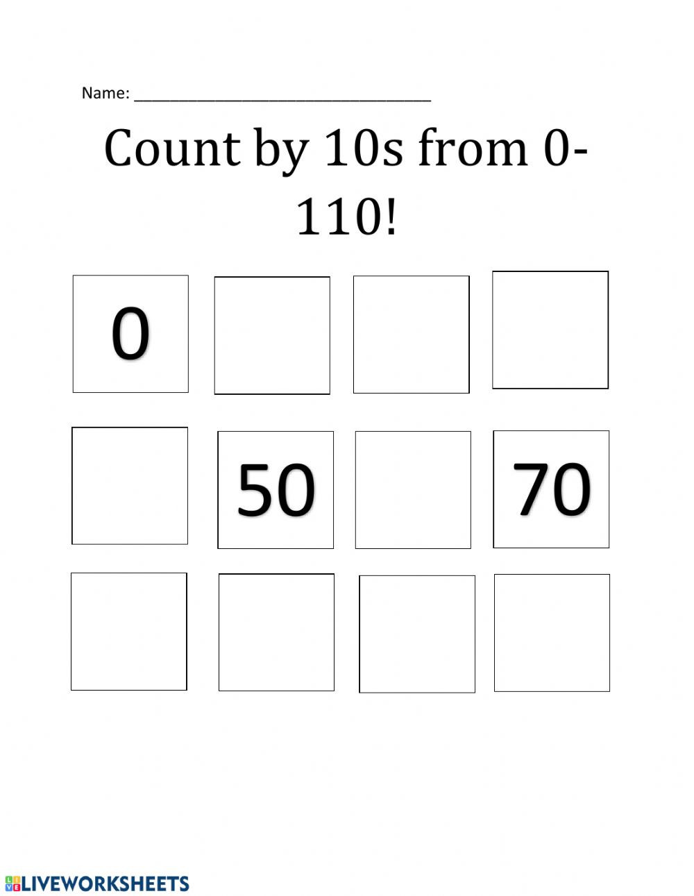 Counting In 10s Worksheet Count by 10s to 110 Interactive Worksheet