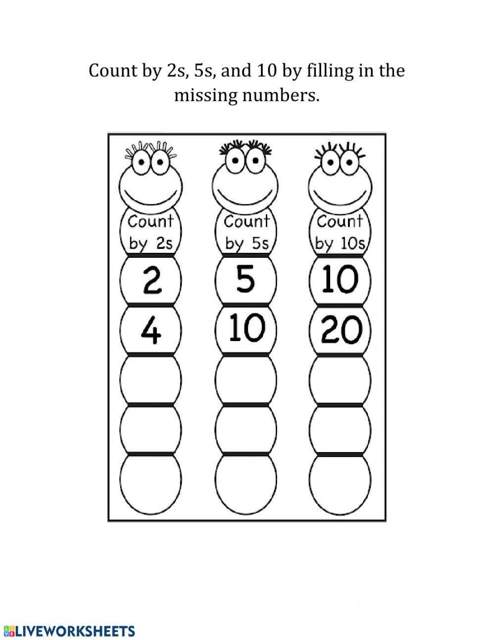 Count by 2s 5s and 10s mz mm