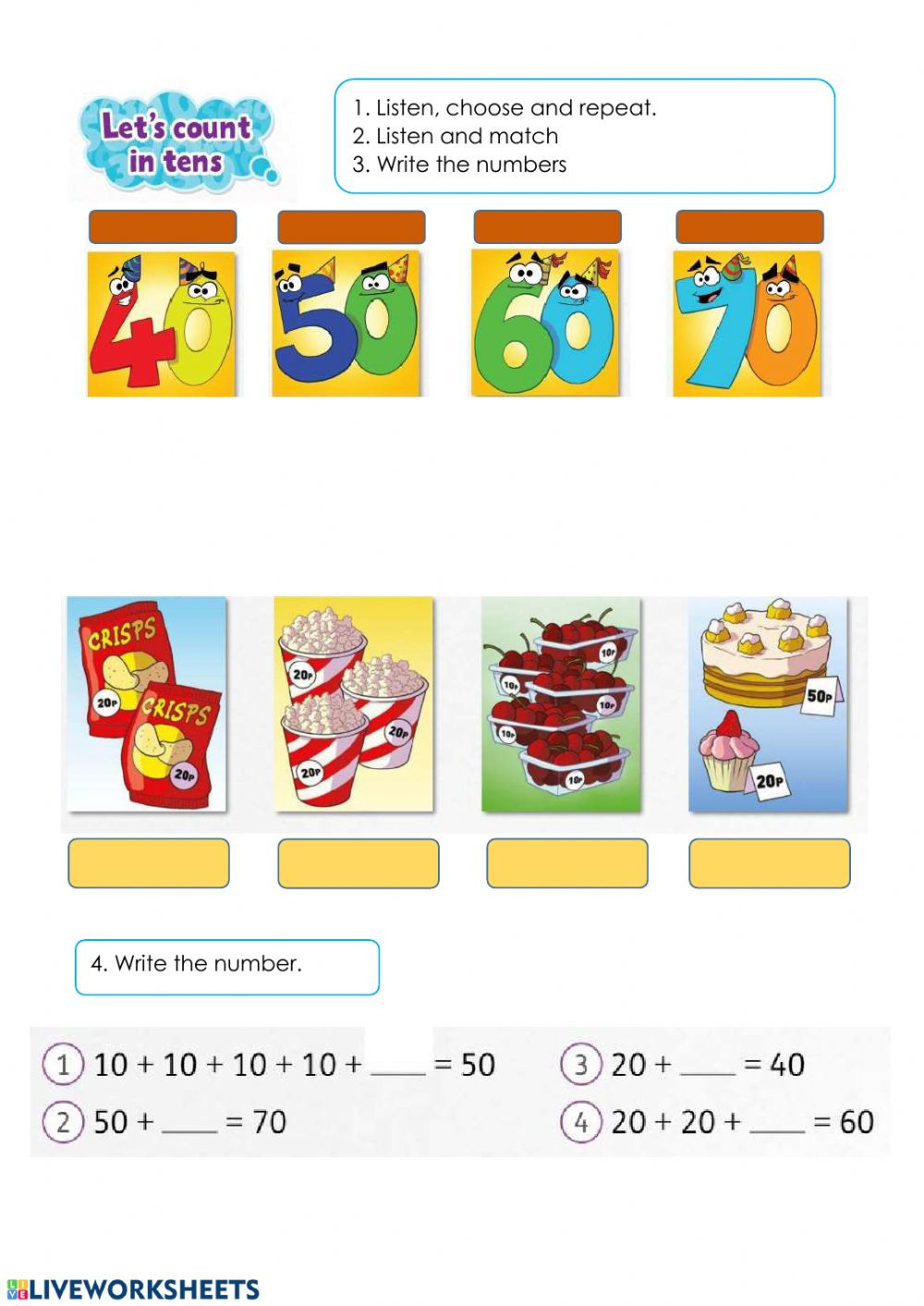 Counting In 10s Worksheet Count In 10s Interactive Worksheet