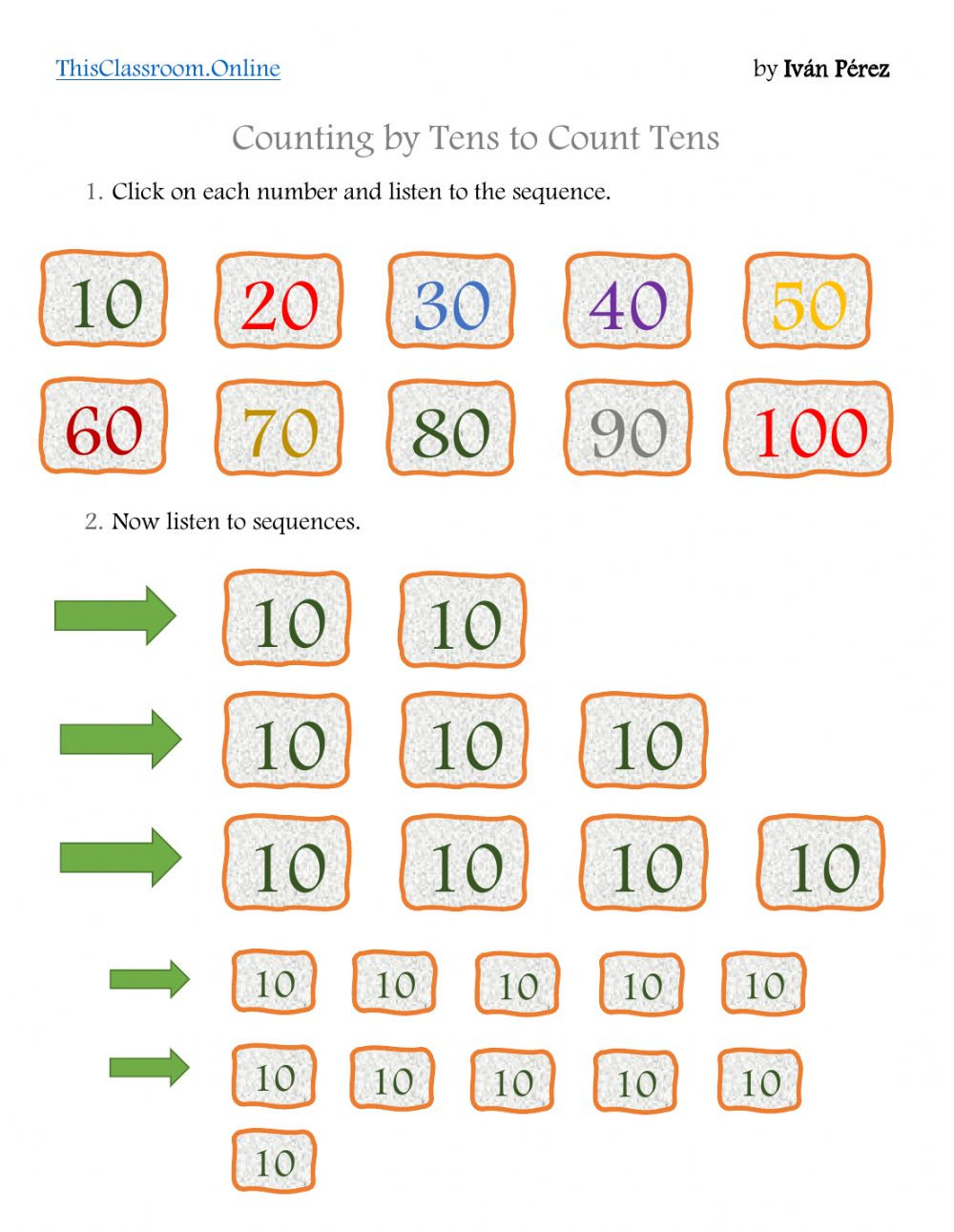 Counting In 10s Worksheet Counting by Tens to Add Tens and Es Interactive Worksheet