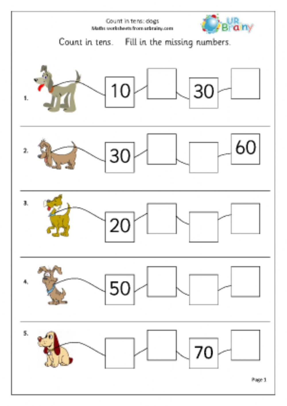 Counting In 10s Worksheet Counting On In 10s Interactive Worksheet