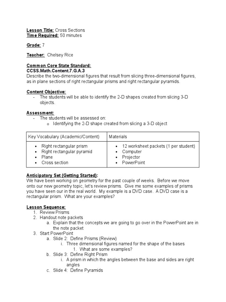 Cross Section Worksheet 7th Grade Observation 3 Rectangle