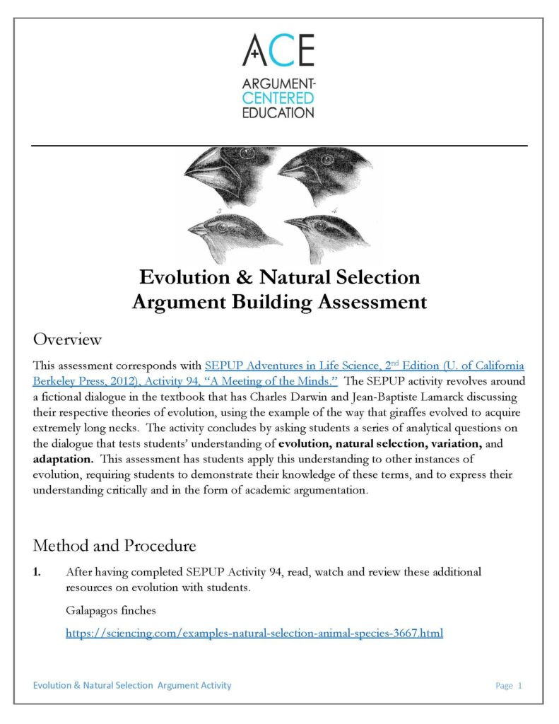 Darwin Natural Selection Worksheet A Sepup Natural Selection Activity Converted Into Argument