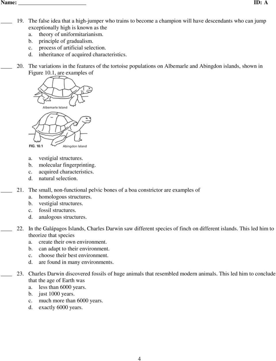 Darwin Natural Selection Worksheet Ccr Biology Chapter 10 Practice Test Summer Pdf Free