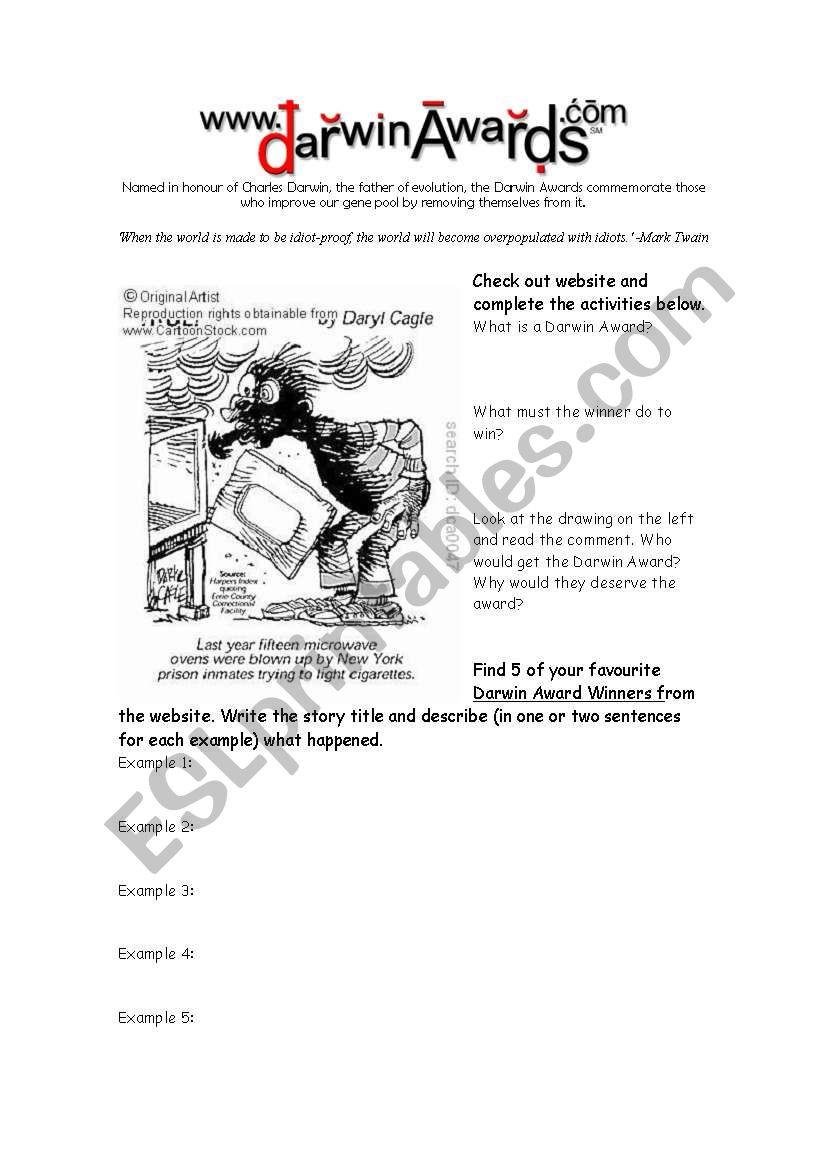 Darwin Natural Selection Worksheet English Worksheets Darwin Awards Website Reading Prehension