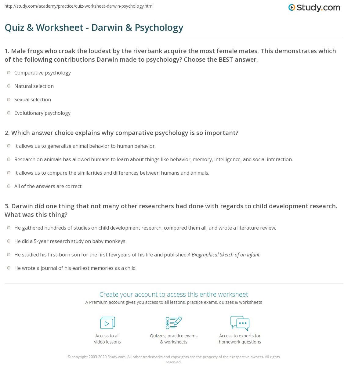 Darwin Natural Selection Worksheet Quiz & Worksheet Darwin & Psychology