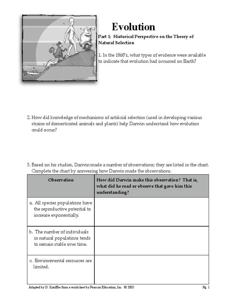 Darwin Natural Selection Worksheet Worksheet Evolution Packet Natural Selection