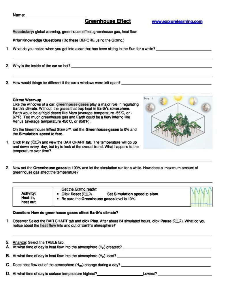 Darwin039s Natural Selection Worksheet Answers Greenhouse Effect Gizmo